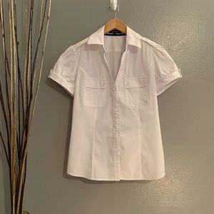 Express white button down blouse sz Med